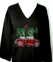 Large Knit Top Embellished All Rhinestone Red Wagon W/Christmas Tree & Cardinal