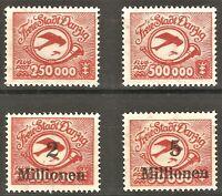 DR Danzig Rare WW1 Stamp 1923 Airmail Overprint Aircraft Biplan Classic Avia Set