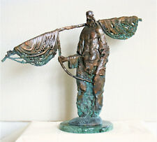 Sculpture of Bronze Fisherman Author's Technique Limited Edition 1/9 Handmade