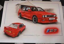 BMW m3 Evoluzione Evo e30 1988 EDIZIONE LIMITATA DIPINTO OPERA D'ARTE STAMPA NUOVO di zecca