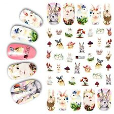Nail Art Lace Stickers Decals Transfers Easter Bunny Rabbits Flowers Floral F161