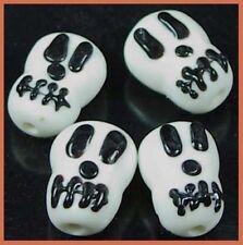 4 Lampwork Handmade Glass Skull Halloween Beads 18mm