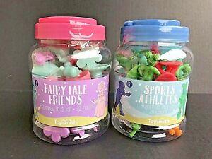 Math Counter Manipulatives Set Of 2 Jars - 20 Sports & 22 Fairytale - NEW -AZ