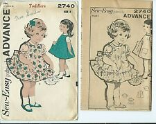 Advance 2740 sewing pattern 50's sweet BLOUSE cute PINAFORE sew toddler's size 2