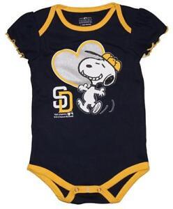 NWT San Diego Padres MLB Snoopy Peanuts Newborn/Infant Girls Creeper Bodysuit