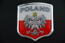 Polish Poland Resin and Aluminium Country Badge Decal Sticker w/ Eagle and Flag