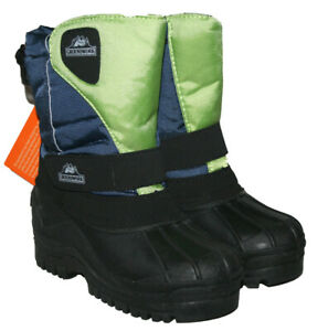 BOYS NAVY / GREEN MUCKER BOOT WINTER WARM LINED WITH TOUCH CLOSE FASTEN SIZE 6-2