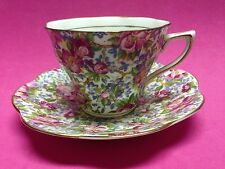 Rosina Queens 5025A Chintz China Footed Cup and Saucer Double Gold Trim England