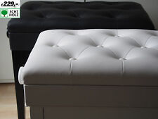 Piano Bench Grand Stool White Polished Wooden