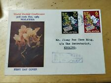 Rare Malaysia 1963 World Orchid Conference Private Cover FDC 2v stamps