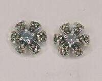 9927796 925er Silber Blautopas-Ohrringe Blüte Markasiten
