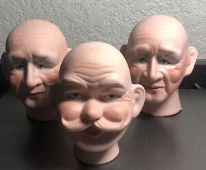 """LOT OF 3 MALE """"SANTA"""" PORCELAIN DOLL HEADS - JEANNETTE ARNETT CREATIONS 1990"""