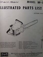 Mcculloch Chain Saw Bp 1 Parts Catalog Manual 2 Cycle Gasoline Chainsaw 1962