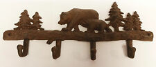 Cast Iron Bear in The Woods 4 Hook Wall Mount Rust Color item number x1087