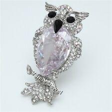 Bird Night Owl Shield CZ AB Rhinestone Crystal Brooch Pin B689