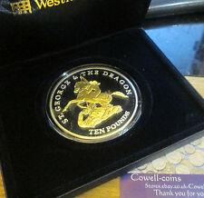 2009 Jersey San Jorge Y El Dragón De Plata Y Oro Proof Fina.999 5 Oz £ 10 En Caja