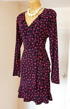 NEW OASIS Navy Blue Black Red Hearts Summer Tea Party Frilly Wrap Dress 14 16