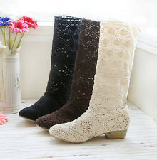 Womens Boho Mesh Flat Cut Out Shoes Knited Mid Calf Boot Sandal Summer Size 4-11