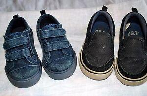 *Set of 2* babyGAP Boy's Size 5 Navy Blue Shoes & Black Slip On Sneakers