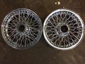 "MG MGC MGB MGBGT x2 60 Spoke Chrome Wire Wheels Rims 14"" 4.5J"