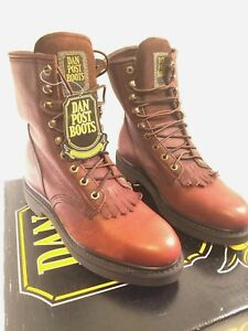 Dan Post Leather Boots Mens Size 8.5 EW Lace up Brown New in Box