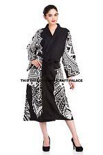 Indian Bath Robes Women's 100% Cotton Dream Catcher Mandala Gown Kimono Robe B&W