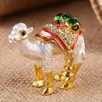 Handmade Crystal Metal Golden Camel Trinket Ring Box Jewelry Box Wedding Gift