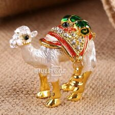 Handmade Crystal Metal Golden Camel Trinket Ring Box Jewelry Box Wedding Gift
