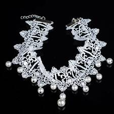 Bride Gothic White Color Pearl Short Flowers Collar Lace Torque Jewelry Gifts
