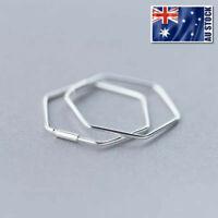 Genuine 925 Sterling Silver 23mm Plain Hexagon Geometric Huggie Hoop Earrings