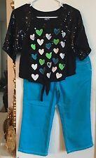 Justice Girls Set: Black Sequin ShortSleeve Top & Turquoise 3/4 Blue Jeans Sz 12