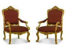Pair Of Vintage French, Gold Leaf, Maroon embroidered Silk,Hand Carved Armchair