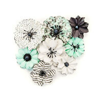 Prima Flirty Fleur Collection Flower Embellishments Grey and Mint 634469
