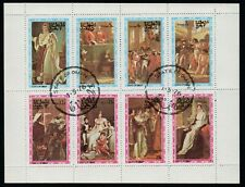 STATE OF OMAN, USED (CTO) MINI SHEET OF 8 ROYAL ART, YEAR 1976