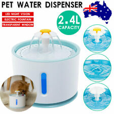 LED USB Automatic Electric Blue Pet Water Fountain Cat/dog Drinking Dispenser AU
