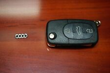 """NEW AUDI A4 A6 A8 TT KEY FOB """"SHELL"""" REPLACEMENT CASE WITH LOGO and PANIC"""
