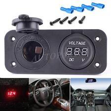 12V Car Cigarette Lighter Plug Socket + Voltmeter For GPS PSP Phones Charging US