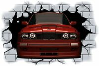 Huge 3D BMW Crashing through wall View Wall Sticker Mural Decal Film 2