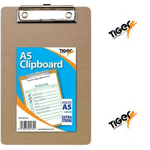 A5 Tiger Mini Compact Clipboard with Hanging Hole & Metal Clip Extra Strong