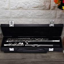 Silver Plated C Flute 16 Keys Close Hole Adjustable Nickel Flute + E key + Box