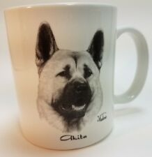 Cup Mug Akita Dog Hand Decorated Rosalinde Porcelain Rittman Ohio Vladimir White