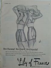 1949 women's Lily of France girdle bra vintage fashion art ad