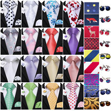 Mens Tie Set Silk Red Black Blue Gold Geometric Necktie Hanky Cufflinks Wedding