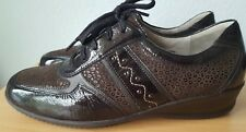 Ladies Waldlaufer Brown Leather Comfy Low Wedge Lace up Shoes size 6.5