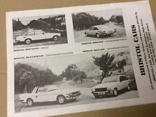 Bristol Cars, Beaufighter, Britannia, Brigand, UK sales brochure leaflet