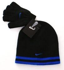 Nike Reversible Black & Blue Knit Beanie & Stretch Gloves Youth Boy's 8-20 NWT