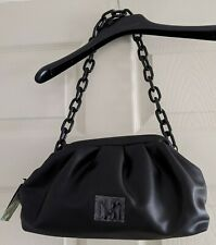$129 Badgley Mischka Wrapped Frame Clutch Black Vegan Leather Shoulder Bag Chain