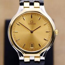 Authentic Omega DeVille Symbol Date 18k Solid Gold Bezel Quartz Mens Watch