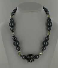 Black - Different Size & Shape Bead Necklace - Gray, Clear &
