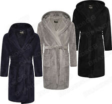 MENS SOFT&COZY LUXURY HOODED FLEECE DRESSING GOWN BATHROBE ROBE SIZES M - 5XL